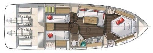 Monte Carlo 37 har öppen aktersalong och stor badplattform.