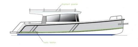 Motorbåten Jens 28 saknar planingströskel.