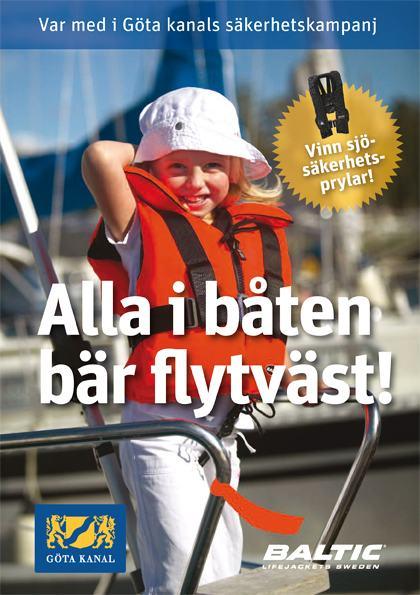 Flytvästkampanj på Göta Kanal - Alla i båten ska bära flytväst