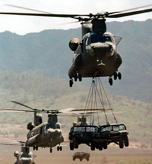 AIR CH-47Ds Lifting HMMWVs lg