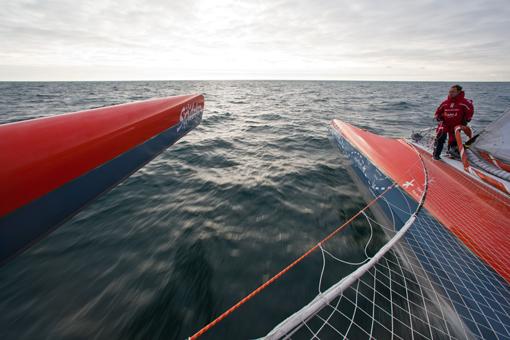 Thomas Coville ombord på sin rekordsnabba Maxitrimaran