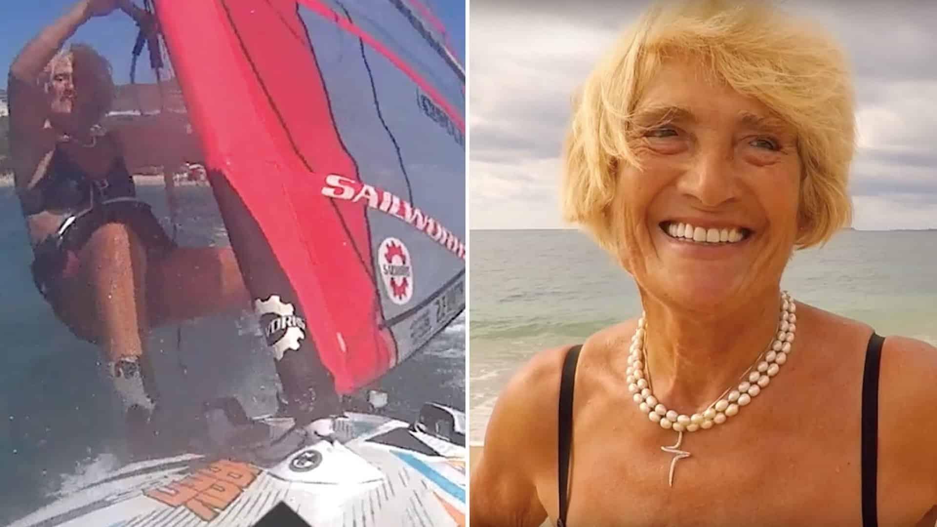 81-årig kvinna sätter rekord i vindsurfing.