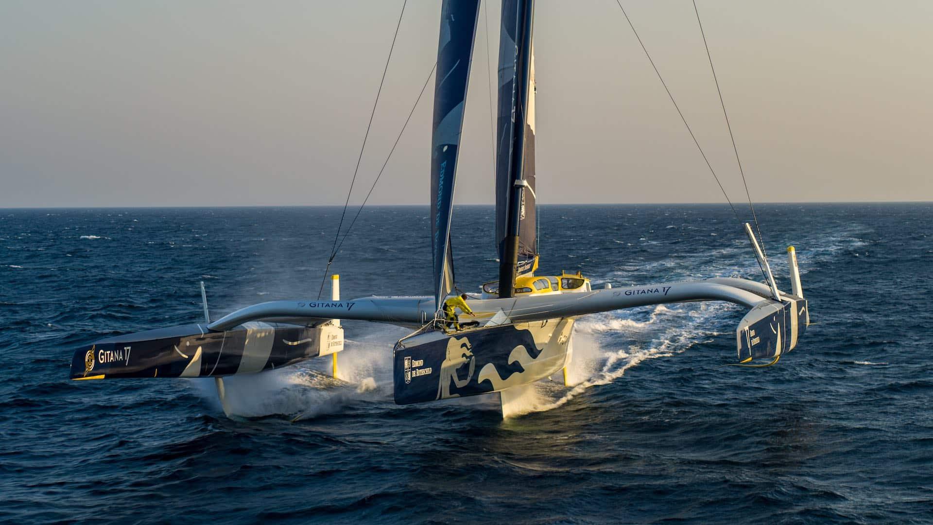 GITANA, Maxi Edmond de Rothschild. Drone 13 February, 2013.