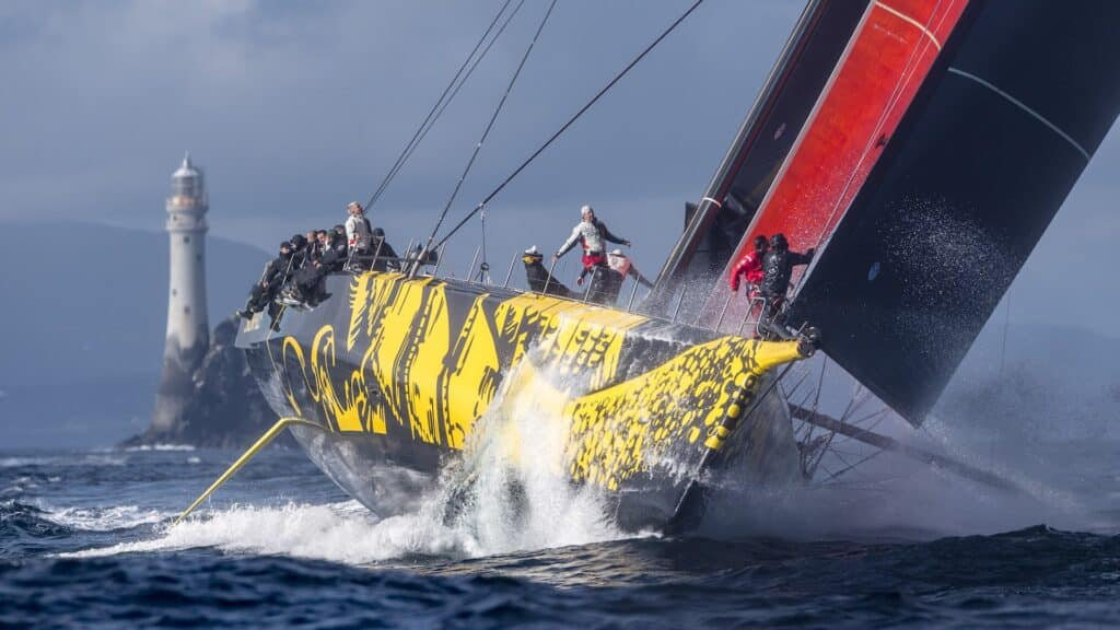 Skorpios was the first monohull to round the Fastnet Rock, passing the iconic turning point at 1820 BST on the second day.   Skorpios, Sail no: MON001, Owner: Dmitry Rybolovlev, Boat Type: Clubswan 125, Division: IRC