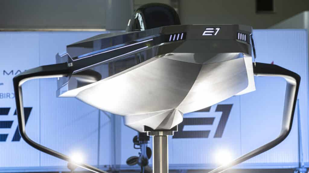 The UIM E1 World Electric Powerboat Series electric RaceBird powerboat 'RB 01' (Photo by Lloyd Images)
