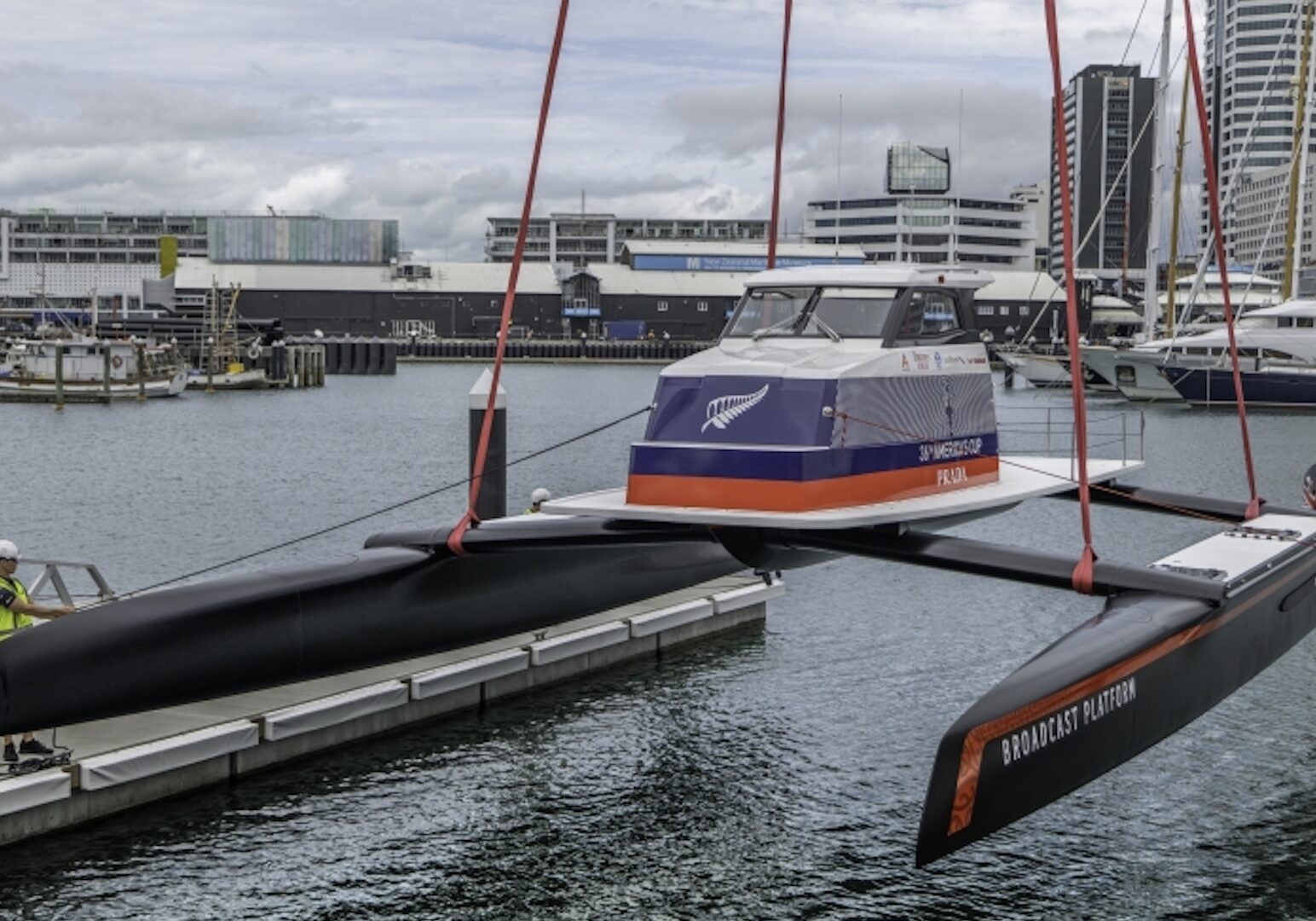 Emirates Team New Zealand's launch 'Te Kāhu' test boat in Auckland